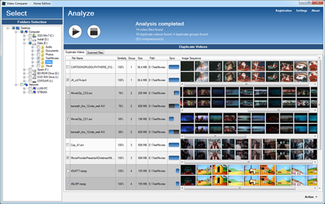 main window of Video Comparer with synchronized timeline thumbnails and image similarity rate