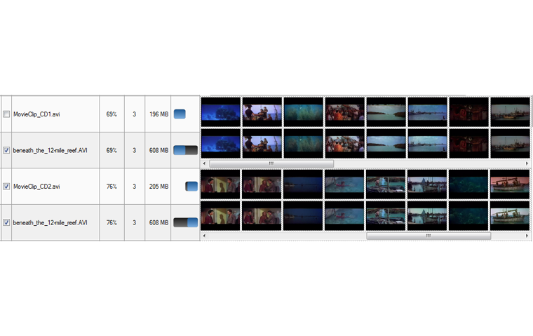 The result of duplicate films is a synchronized timeline thumbnails, and similarity percent